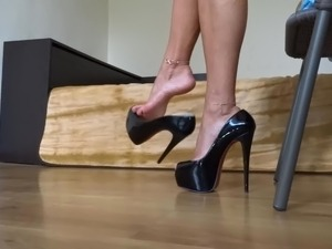 Cum for me while I am dangling my sexy patent leather