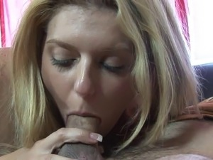 Curvy blonde slut gets cream pie after riding a hard cock