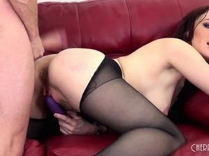 Ravishing redhead in black pantyhose Jessica takes it hard from behind