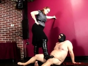 Sexy female police officer makes this horny dude get down on his knees