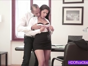 Hot horny secretary Valentina Nappi gets fucked hard at