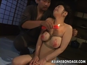 Busty Japanese chick in hot wax BDSM action free