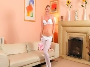 Sexy mom in white pantyhose strip