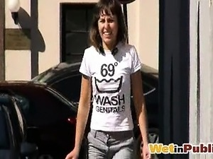 Jeans wetting and removing in the street