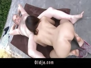 Sensual girl is ridding old man cock