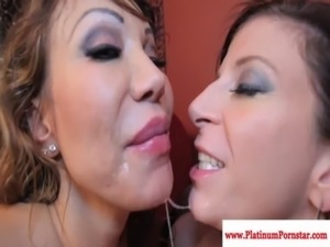 Ava Devine and Sara Jay share his cum free