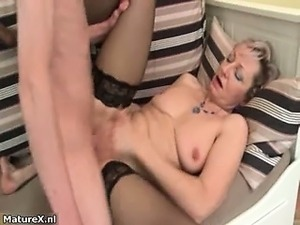 Horny blonde mature woman goes crazy part6
