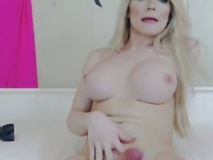 Blonde Tranny Jerking till she Unloads her Hot White Jizz on her Face