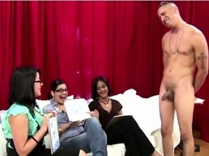 Naked dude masturbates for group of CFNM babes