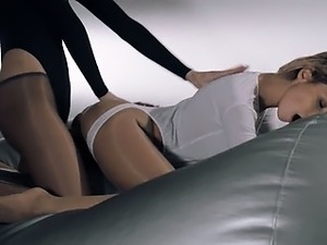 women in pantyhose fucking with strap on