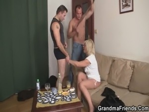 Horny blonde granny double penetration free
