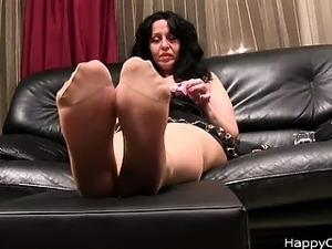 Alisa high heels steps, and nylon feet