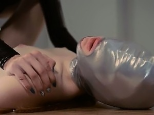 extreme strapon lesbians in mask playing