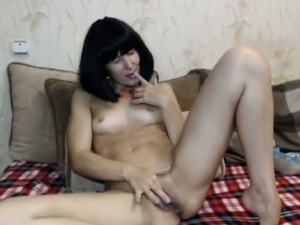 Horny Russian in front of the cam legs widely spread