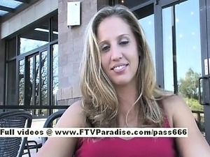 Pamela hot blonde babe public flashing tits and ass