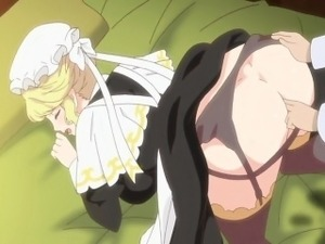 Blonde hentai maid with huge titties gets fucked