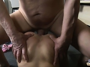 Old cock sucked and milked by asian babe