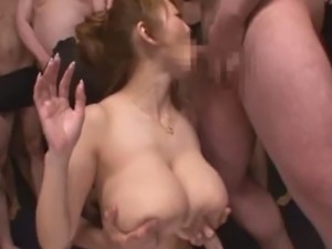 Hitomi Tanaka in one of her first bukkake movies where she cum covered in her...