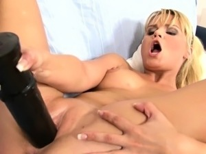 Blonde Pounding Huge Black Dildo