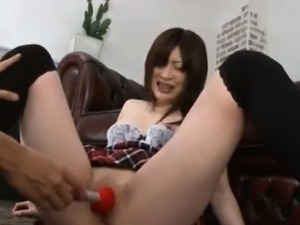 Riko Oshima in long socks has shaved pussy aroused with
