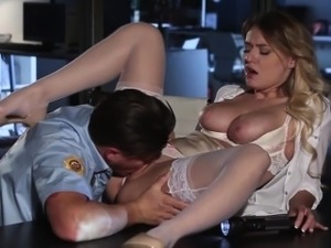Bigtit secretary eaten out before cum on tits