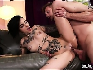 Tattooed whore enjoyed cum all over her after getting fucked