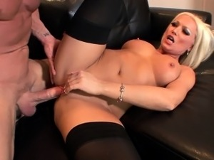 Diana fucked in black thigh high stockings