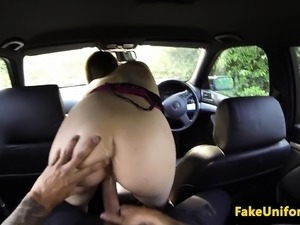 Brit doggystyled in car before outdoor facial