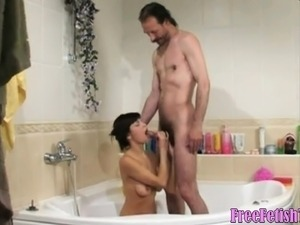 Young Teen and Horny Old Guy in Bathroom - FreeFetishTVcom