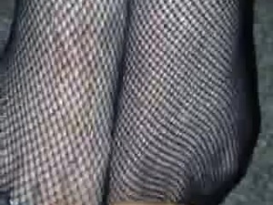 cumshot on fishnets sheer white pantyhose