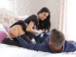 Horny maid serves the young master good