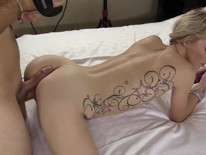 Petite Blonde With Tiny Waist Enjoys Fucking From Behind