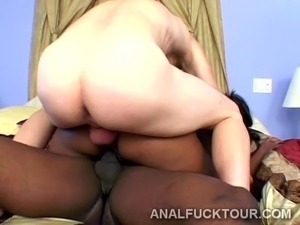 Sexy ebony babe is wildly double penetrated in threesome