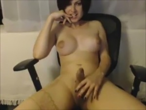 Horny Shemale masturbates and Cums